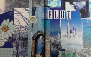 """Blue"" gluebook spread"