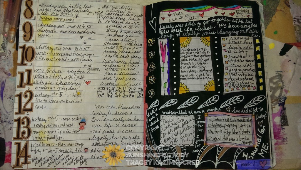 A page spread that's more heavy on writing and doodling.