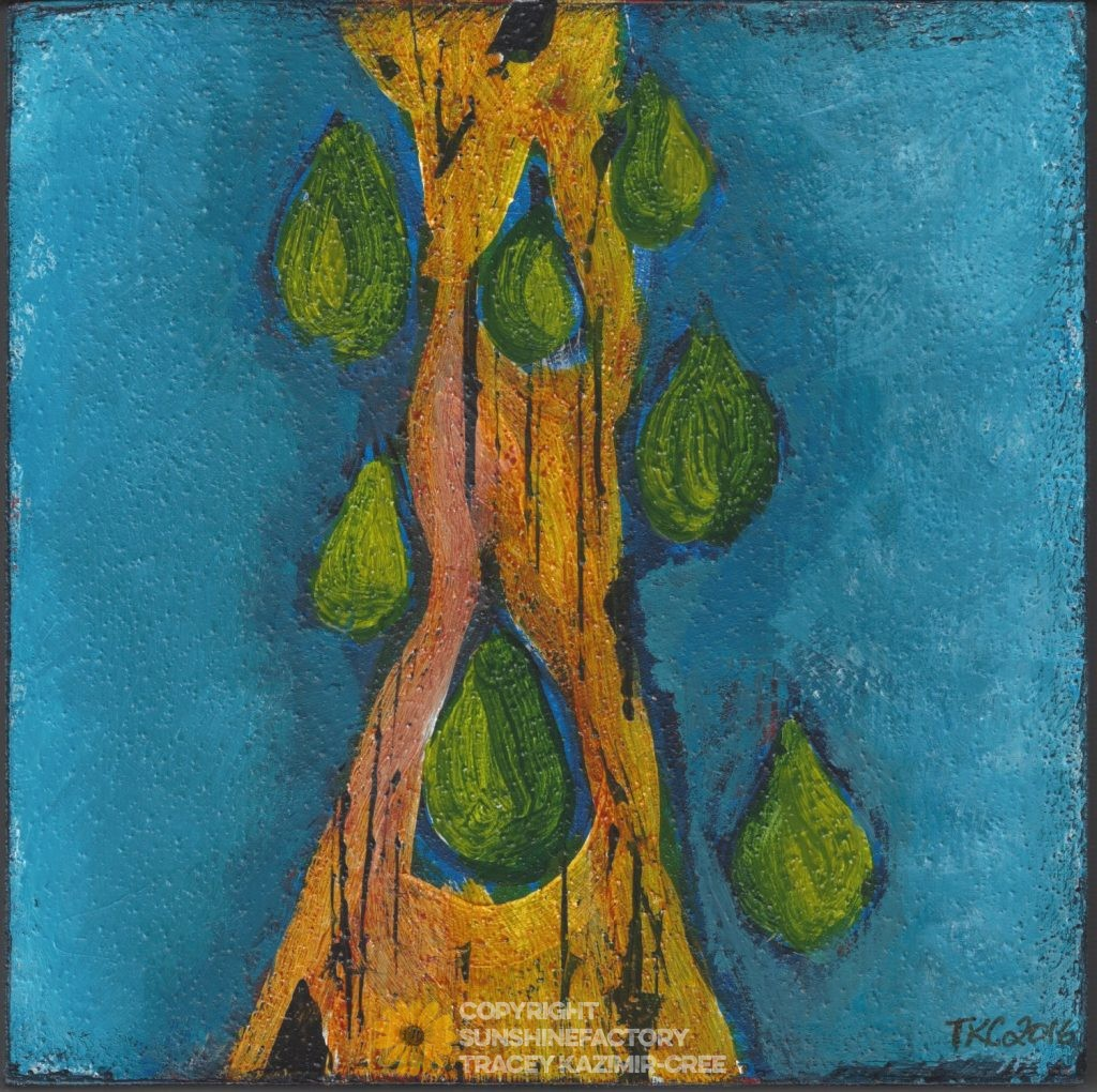 "tracey kazimir-cree. weeping tree. 5""x5"" acrylic on cradle board."